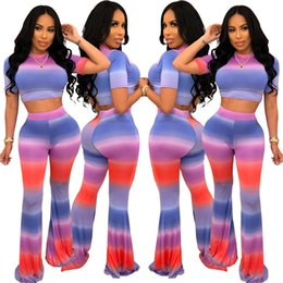 flared yoga pants 2019 - Women two piece pants set t-shirt fashion crop top short sleeve crew neck striped bodycon leggings pants Flared trousers