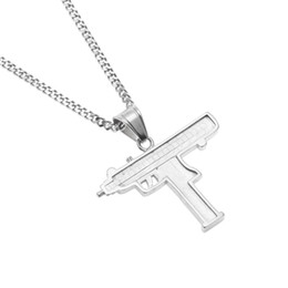 Necklaces Pendants Australia - Hip Hop Gun Pendant Necklace 18K Gold Silver Plated Iced Out Cz Diamonds Charm Pendant Fine Quality Cuban Chain