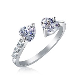 $enCountryForm.capitalKeyWord Australia - Elegant shape double heart diamond Rings Jewelry Crystal Opening adjustable Rings For Women Nice Gifts Mother's Day DHL Free