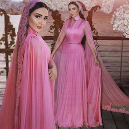 MusliM bridal evening gowns online shopping - Modest Fushcia Chiffon Muslim Formal Evening Dresses With Wrap High Neck Plus Size Sweep Train Bridal Reception Prom Party Gowns Cheap
