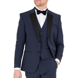 images fashionable suits Australia - Fashionable Two Buttons Groomsmen Notch Lapel Groom Tuxedos Men Suits Wedding Prom Dinner Best Man Blazer(Jacket+Pants+Tie+Vest) 527