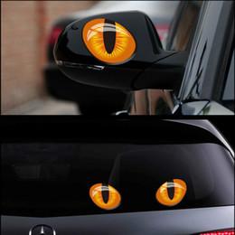 Fiber Engine Australia - 2pcs 12*10cm Cute Simulation Cat Eyes Car Stickers 3D Vinyl Decal for Rearview Mirror Car Head Engine Cover Windows Decoration