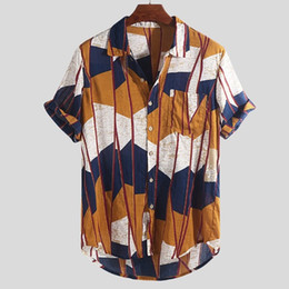 Chest Clothes UK - 2019 NewCool men's clothing Mens Multi Color Lump Chest Pocket Short Sleeve Round Hem Loose Shirts Blouse Hauts pour hommes