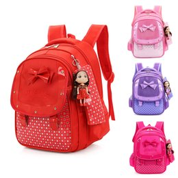 Hot Backpacks Australia - Hot Sale Baby Girls Kids Bowknot Heart Dot Backpack Toddler School Bag 3Pcs Set Cute High Quality