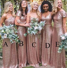 Discount rose bridesmaids dresses Rose Gold Sequins Bridesmaid Dresses 2020 Bling Sparkly New Cheap Mermaid Two Pieces Prom Gowns Backless Country Beach P