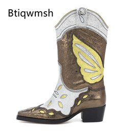 square toe cowboy boots Australia - 2020 Butterfly Embroidery Ankle Boots Women Square Toe Gold Silver Leather High Heel Boots Woman Cowboy Western