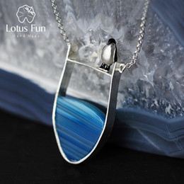 Fun Pendant Australia - Lotus Fun Real 925 Sterling Silver Natural Agate Handmade Fine Jewelry Lovely Penguin Necklace With Pendant For Women Collier Y19051603