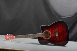 Acoustic Guitar Wood Spruce UK - free shipping 41 inch tiger pattern spruce Nanyang wood corner ballad acoustic guitar beginner guitar factory direct sales
