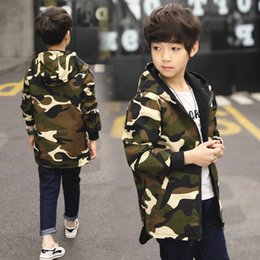 Camouflage Jacket Kids Australia - children boys trench coat for kids camouflage long jackets for boy hooded overcoat two side wears 2019 spring clothing