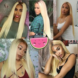 Dark Roots Hair Australia - Full front lace virgin wig human hair with baby hair long unprocessed remy raw 613# siliky straight dark root for women
