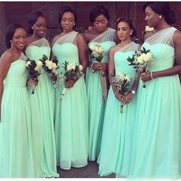 Turquoise Black Maid Honor Dresses Australia - Cheap Bridesmaid Dresses Turquoise Long 2019 Nigerian African Black Girls A Line One Shoulder Pleats Wedding Party Gowns Maid Of Honor Dress