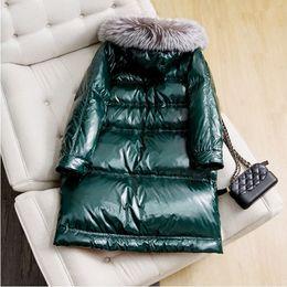 Snow Goose Parka NZ - Oversize Silver Fox Fur Collar Warm Down Jacket Coats Thickening Women Winter Parka Coats Long Outwear Snow Wear Goose Down Coat