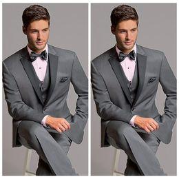 $enCountryForm.capitalKeyWord Australia - Elegant Formal 2020 Grey Men Suits For Wedding Slim Fit Groomsmen Tuxedos Three Pieces Handsome Business Suit (Jacket+Pants+Vest+Bow)