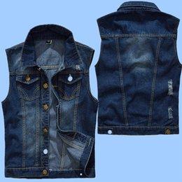 Slim Fit Sleeveless Jacket Australia - New 5XL Denim Vest Men's Jacket Sleeveless Casual Waistcoat Men's Jean Coat Ripped Slim Fit Male Jacket Cowboy Plus Size M~5XL