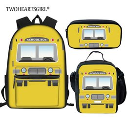 cream school NZ - Twoheartsgirl Cartoon School Bus Prints Book Bags for Girls Primary Student 3Pcs Set Schoolbag Kids Children Bookbags mochila