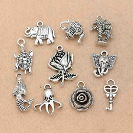 Turtle Charm Green Australia - charm pendant Mix Tibetan Silver Plated Key Mermaid Flower Tree Elephant Charms Pendants Turtle Jewelry Making DIY Charm Craft Handmade