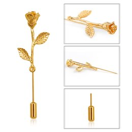 $enCountryForm.capitalKeyWord Australia - Fashion Rose Flower Long Needle Brooch Simple Gold Silver Rose Flower For Women Collar Lapel Pin Gold Silver Accessories Jewelry