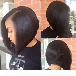u part virgin hair bob wigs UK - Human Hair U Part Bob Wigs for Black Women Brazilian Virgin Straight Short Bob Upart Wig Glueless Left Part U-part Wigs