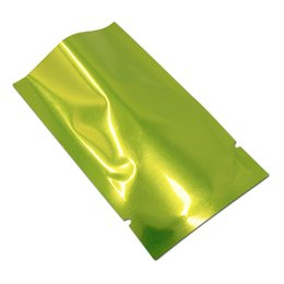 wholesale glossy gift bags Canada - 500pcs 7*10cm green flat aluminum foil glossy open up bag mylar plastic package bag small mini power storage bag gift pouch