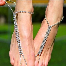 2cc5c7b9fb452b 1 Pair Silver Rhinestones Bridal Anklets Barefoot Sandals Wedding Jewelry  Birdal Accessories Foot Chains 2019 Beach Wedding Decoration