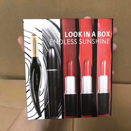 Mixing Red Purple Lipstick Australia - M Brand Makeup LOOK IN A BOX Matte rouge a levre Lipstick +Mascara + Eyeliner 5pcs in 1 Set