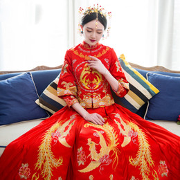 produit traditionnel chinois achat en gros de-news_sitemap_homeProduits de vente Clearance robe traditionnelle de mariage chinois qipao Costume National femmes cheongsam Chine Style de robe de mariée rouge