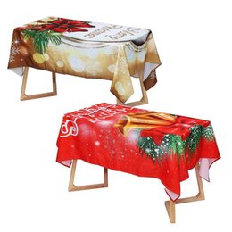 red party tablecloth Australia - Merry Christmas Table Cover Waterproof Christmas Bell Red Kitchen Tablecloth Party Home Decoration Dining Table Cloth