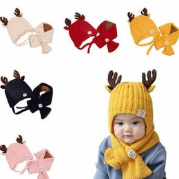 horn hats NZ - Christmas Baby Knitted Beanie Child Milu Deer Horn Hat Add Wool Scarf 2 Pieces Kids Outdoor Candy Color Winter Warm Scarf Hat WY234