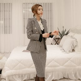Work Suits Styles Australia - high quality fashion elegant skirt suits warm plaid suit & slim skirt wild outdoor trend suits Office lady work style suit