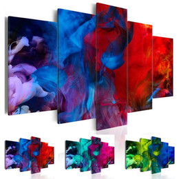 Modern Red Floral Art UK - Fashion Wall Art Canvas Painting 5 Pieces Red Blue Purple Abstract Color Mist Modern Home Decoration, No Frame