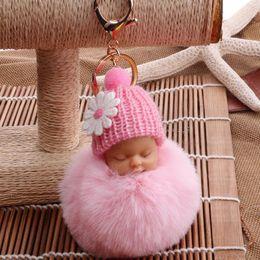 $enCountryForm.capitalKeyWord Australia - New Cute doll key ring hair ball pendant bag car key chain student plush baby hanging plush toy