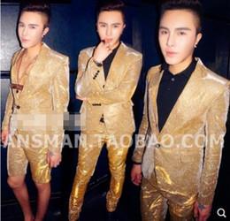 Colorful Men Dress Australia - S-5XL 2019 New Nightclub Men clothing Fashion singer slim DJ GD Colorful Gradient glitter golden suits plus size stage costumes formal dress