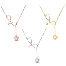 Simple model necklace online shopping - Ysterious Doctor Nurse Stethoscope Model Heart Pendant Simple Fashion Sexy Clavicle Chain Necklace Women LJJS170