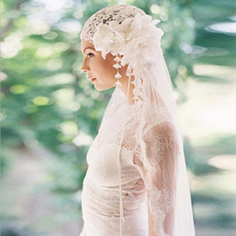 Long Romantic Veils UK - New bride lace veil long veil romantic lace three-dimensional flower head yarn hat accessories