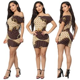 $enCountryForm.capitalKeyWord NZ - new2019 Women's Clothes Package Buttocks Sexy Oblique Collar Gold Necklace Printing Dress