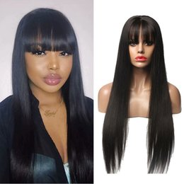 black straight full wigs bangs 2019 - Glueless Silk Top Straight Human Hair Wigs with Full Bangs For Black Woman 5*4.5 Silk Base Full Lace Wigs With Baby Hair