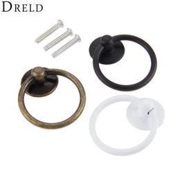 Ring Pull Handles Australia - urniture Hardware Cabinet Pulls DRELD 44*52mm Vintage Round Ring Furniture Door Pull Handle Alloy Cabinet Dresser Drawer Knobs Handle For...