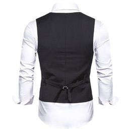 suits blazers pattern Australia - Mens Slim Dress Vest Black Blue Red Waistcoat for Men Sleeveless Jacket Blazer Business Casual Suit Vests Formal Chaleco Hombre