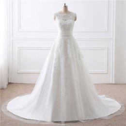 Großhandel Günstige Einfache Brautkleider Abnehmbare Taille Set U-Ausschnitt Spitze Reißverschluss Schleppende Braut Kleid Kleider