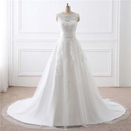 Опт Простые простые свадебные платья Съемный набор талии U-образным вырезом с кружевной молнией висячие платья невесты