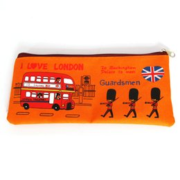kids pen pouch UK - Girls Cartoon London Style Pencil Case Oxford Canvas Makeup Cosmetic Brush Pen Storage Pouch Pencil Bag Women Student Kids Gift