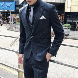 Plus Size Winter Vests Australia - Navy Blue 2019 Groom Tuxedos Wedding Suits Groomsmen Best Man For Young Man Prom Suits (Jacket+Pants+Vest+Bow Tie) Custom Made Plus Size