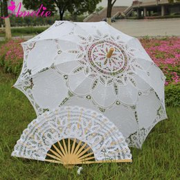 $enCountryForm.capitalKeyWord Australia - Outdoor Sun Protection Wedding Embrodiery Lace Parasol and Fan Set Party Guest