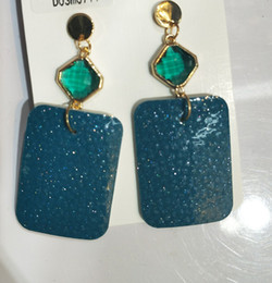 $enCountryForm.capitalKeyWord NZ - Sparkly Rhinestone Square Leather Earrings for Girls Fashion NEW Genuine leather Square Drop earrings Bijoux Wholesale