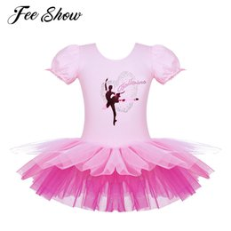 ballerina tutus for girls Canada - Toddler Girls Tutu Ballet Dress Gymnastics Leotards for Girls Dancer Ballerina Ballet Dress Short Sleeves Leotard Costume