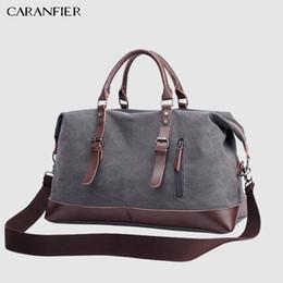 Mens Large Leather Travel Bags Australia - CARANFIER Canvas Leather Mens Bags 22'' Travel Luggage Bag Men Duffel Travel Tote Large Weekend Bag Overnight Big duffle Handbag