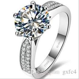 3 ct de diamants synthétiques bagues de mariage en argent sterling pour les femmes bagues de fiançailles pour les femmes en or blanc 18k expédition de goutte en Solde