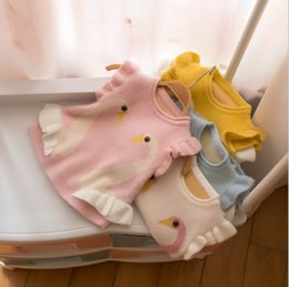 $enCountryForm.capitalKeyWord Australia - Toddler kids princess vest baby girls swan knitted sweater pullover waistcoat 2019 fall new children falbala fly sleeve cartoon outwear F916