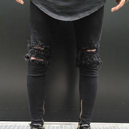 New Slim Feet Jeans Australia - Men Ripped Holes Zip skinny black Jeans Zip Elastic Feet Jeans Slim Fit Boy Pants New Fashion