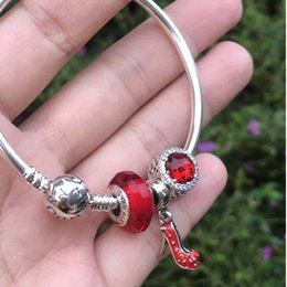 Sending Gifts Australia - Red Series High Heels Pendant Bracelet Strings Gift Set 925 Silver DIY Bracelet Send Girlfriend Gift